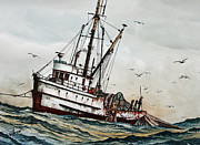 Fishing Art Print Posters - Fishing Vessel DAKOTA Poster by James Williamson