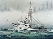 Fishing Art Print Prints - Fishing Vessel MIDNIGHT SUN Print by James Williamson