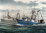 Fishing Art Print Posters - Fishing Vessel MISS LEONA Poster by James Williamson