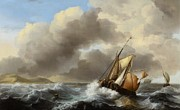 Rough Waters Prints - Fishing Vessels Offshore in a Heavy Sea Print by Ludolf Backhuysen