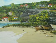 Caribbean Sea Paintings - Fishing Village by Kenneth Harris