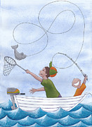 Cute Painting Posters - Fishing With Grandpa Poster by Christy Beckwith
