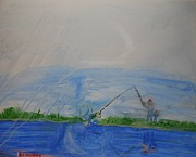 Clay Center Posters - Fishing With Grandpa Poster by Travianno