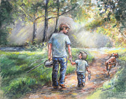 Sports Art Pastels Acrylic Prints - Fishing With My Dad Acrylic Print by Laurie Shanholtzer