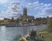 Canal Painting Originals - Fishing with Oscar - Doncaster Minster by Richard Harpum
