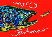Trout Digital Art - Fishmas Trout by Owl Jones