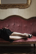 Black Dress Metal Prints - Fishnet Tights Metal Print by Joana Kruse