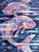 Good Luck Painting Metal Prints - Fishstream Metal Print by Sarah Porter