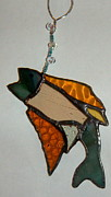Fishing Glass Art Metal Prints - Fishy Metal Print by Nora Solomon