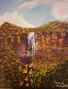 Waterfalls Paintings - Fitsroy Falls by Pamela  Meredith