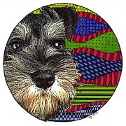 Mini Schnauzer Puppy Prints - Fitz Print by Rebecca Jayne