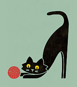 Fitz The Curious Cat Print by Budi Satria Kwan
