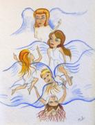 Angel Blues Drawings - Five Angels Hanging Around  by Kenneth Michur