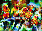 Print Digital Art Originals - Five artist parrots. 2013 80/60 cm.  by Tautvydas Davainis