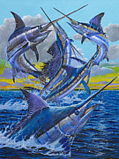 Pez Vela Painting Posters - Five Billfish Off00136 Poster by Carey Chen