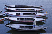 Uttar Pradesh Prints - Five Boats on the Ganges Print by Robert Preston