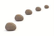 Neutral Colours Prints - Five Calm Pebbles against White Background Print by Natalie Kinnear