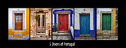 Entrance Door Framed Prints - Five Doors of Portugal Framed Print by David Letts