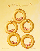 Geddes Framed Prints - Five Gold Rings Framed Print by Anne Geddes
