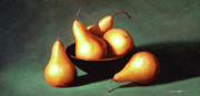 Still Life With Pears Framed Prints - Five Golden Pears With Bowl Framed Print by Frank Wilson