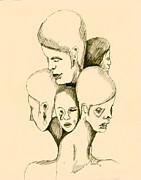 Head Drawings Prints - Five Headed Figure Print by Sam Sidders