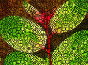 Gardener Mixed Media - Five Leaves - Stone Rockd Art By Sharon Cummings by Sharon Cummings