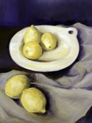 Lemon Paintings - Five Lemons by Mark Hufford