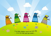 Dr. Who Drawings Framed Prints - Five little daleks Framed Print by Matt Mawson