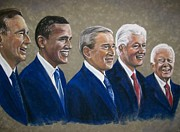 Bill Clinton Pastels Framed Prints - Five living presidents 2009 Framed Print by Martha Suhocke