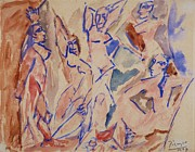 Demoiselles Prints - Five Nudes Study Print by Pg Reproductions