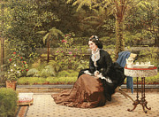 Five-o Painting Framed Prints - Five Oclock Framed Print by George Dunlop Leslie