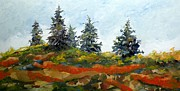 Pine Trees Mixed Media Metal Prints - Five Pines Metal Print by Saundra Lane Galloway