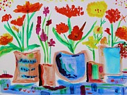 Primitive Drawings - Five Pots in a Row by Mary Carol Williams