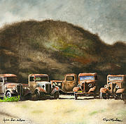 Antique Car Framed Prints - Five Star Motors... Framed Print by Will Bullas