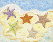 Ocean Art. Beach Decor Originals - Five Starfish by Annamarie Lombardo