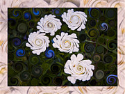 Okanogan Framed Prints - Five White Flowers in an Abstract Garden Framed Print by Omaste Witkowski