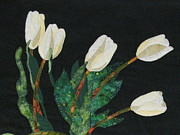 Art Quilts Tapestries Textiles Prints - Five White Tulips  Print by Lynda K Boardman