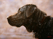 Black Lab Puppy Paintings - Fixed gaze by John Silver