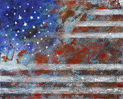4th July Painting Prints - Flag 2012 Print by Eva Hoffmann