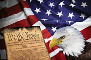 U S Flag Digital Art Posters - Flag Constitution Eagle Poster by Daniel Hagerman