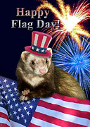 Ferret Digital Art - Flag Day Ferret by Jeanette K