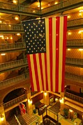Atriums Prints - Flag in the Atrium at the Brown Palace Hotel Print by John Malone