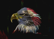 Eagle Mixed Media Metal Prints - Flag Of Honor Metal Print by Deborah Benoit