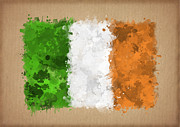 Waving Flag Digital Art - Flag of Ireland painted with watercolors by Baranov Viacheslav