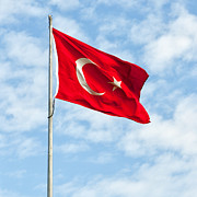 Flying Turkey Prints - Flag of Turkey Print by Antony McAulay
