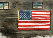 Stars And Stripes Drawings - Flag on Old Siding by John  Williams