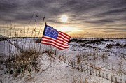 Michael Digital Art Posters - Flag on the Beach Poster by Michael Thomas