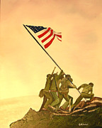 Flag Of Usa Painting Prints - Flag Raising at Iwo Jima Print by Dean Glorso