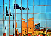 Building Reflections Prints - Flag Reflections Print by Charline Xia
