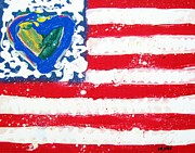 United States Mixed Media Originals - Flag by Venus